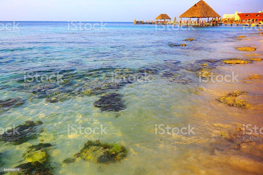 Gazebo / palapa - idyllic translucent beach sunset - Cancun, Mexican caribbean stock photo