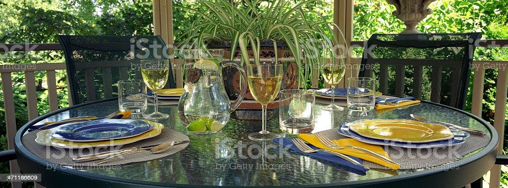 Gazebo table setting royalty-free stock photo