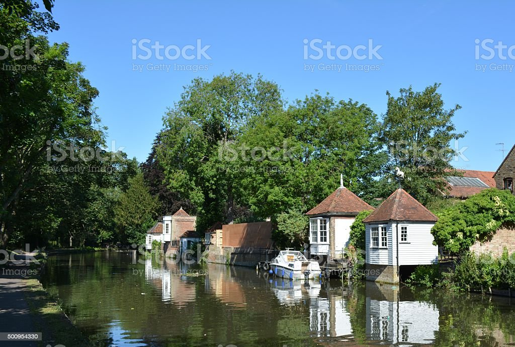 Gazebos on the River Lea in Ware, Hertfordshire stock photo