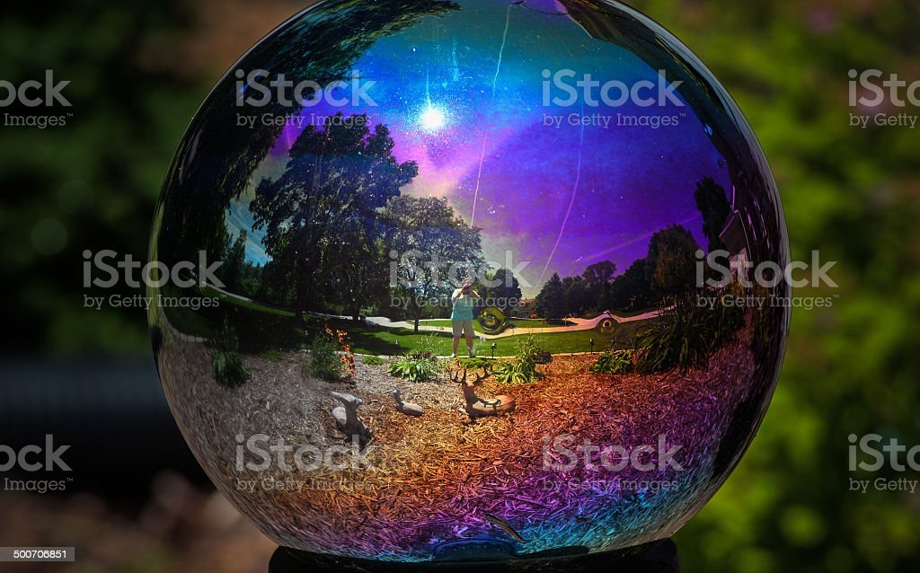 Gazing Ball with My Reflection stock photo