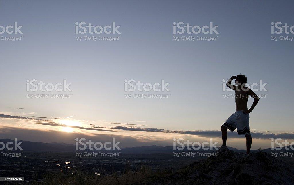 Gazing into the sunset stock photo
