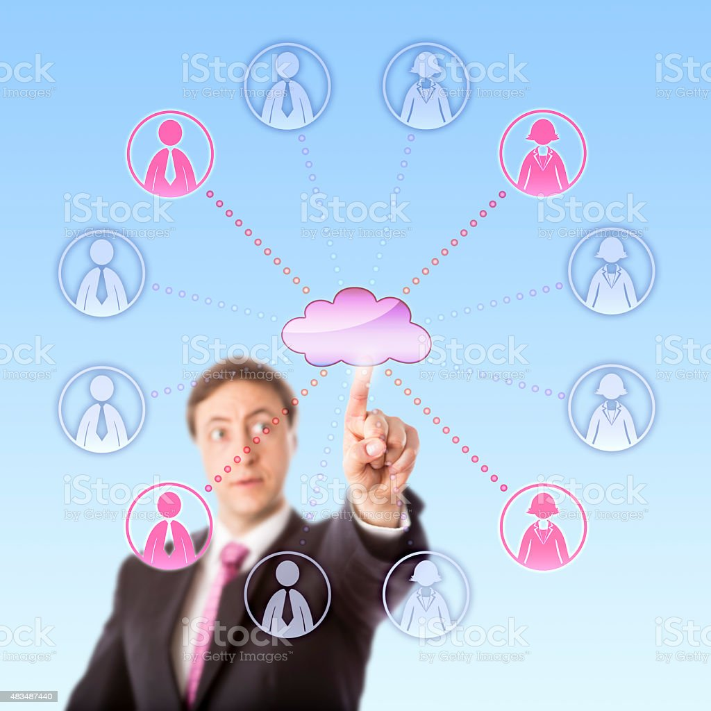 Gazing Manager Remotely Choosing Workers Via Cloud stock photo