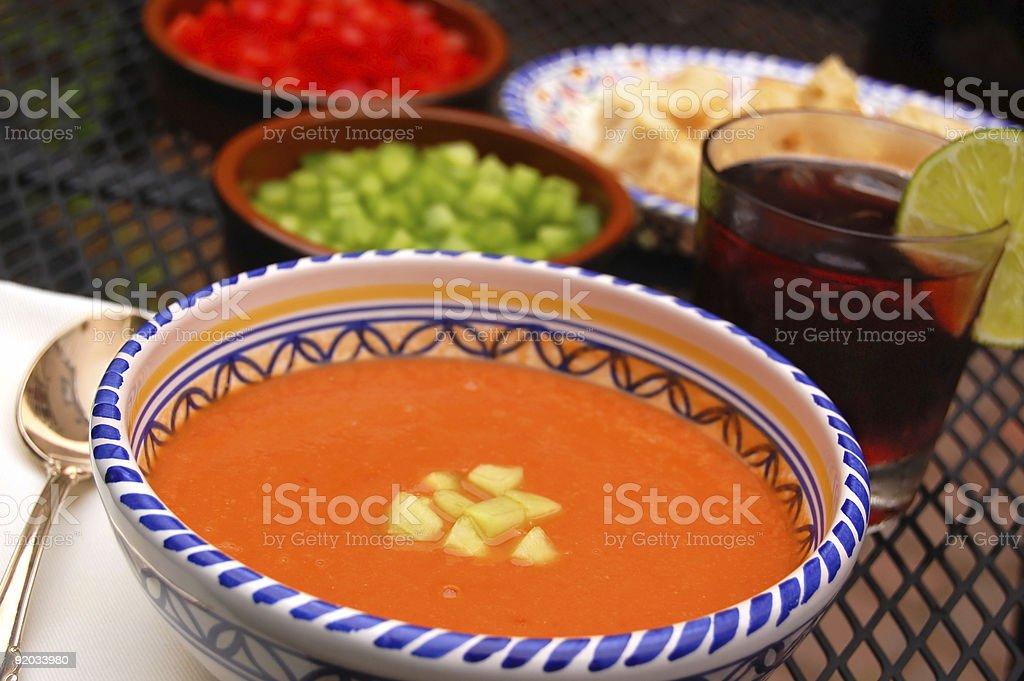 Gazpacho and Sangria stock photo