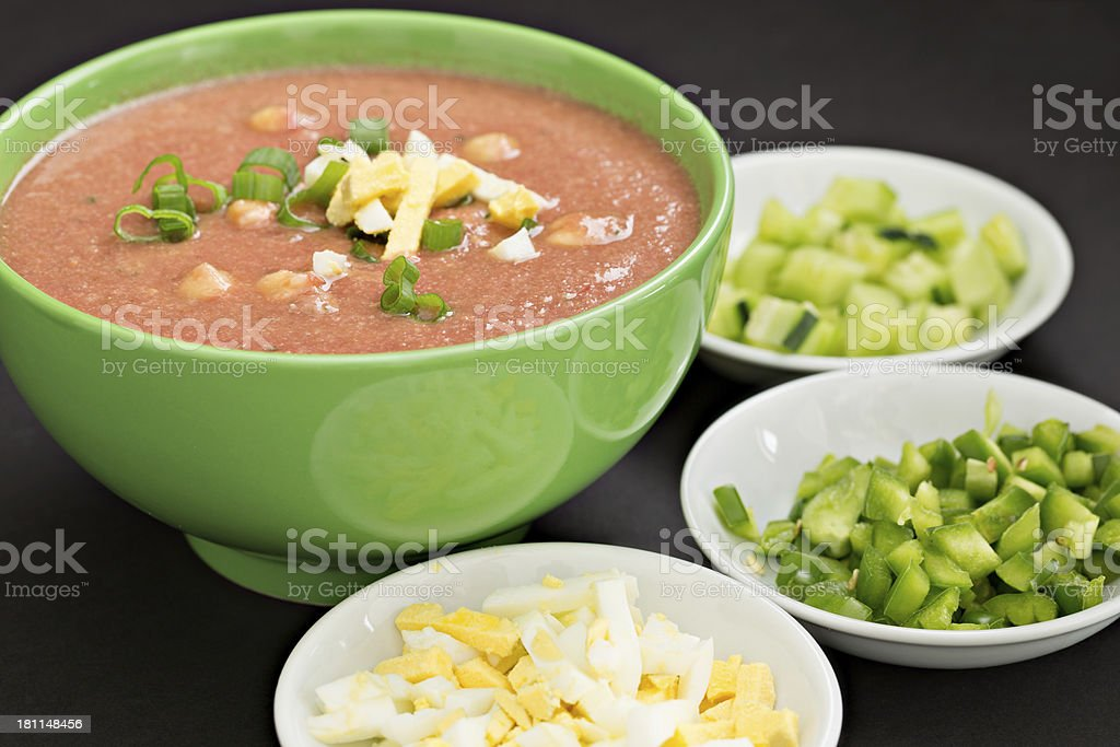 Gazpacho And Some Fixings stock photo