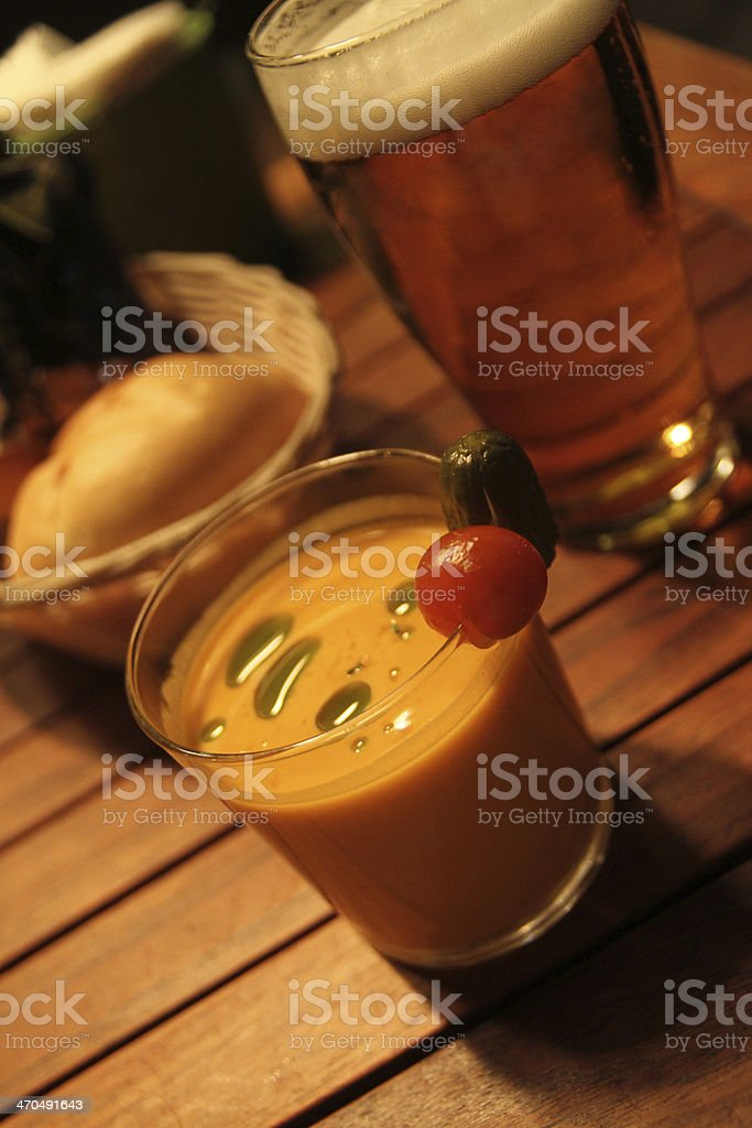 Gazpacho soup and a beer royalty-free stock photo