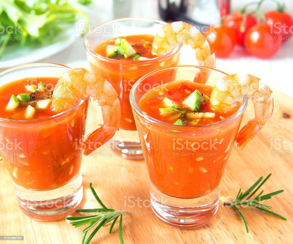 gazpacho with prawns stock photo