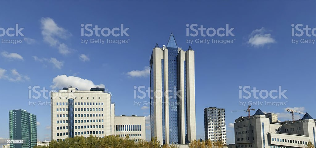 HIGH-TECH STYLE BUILDING. Gazprom headquarters in Moscow stock photo