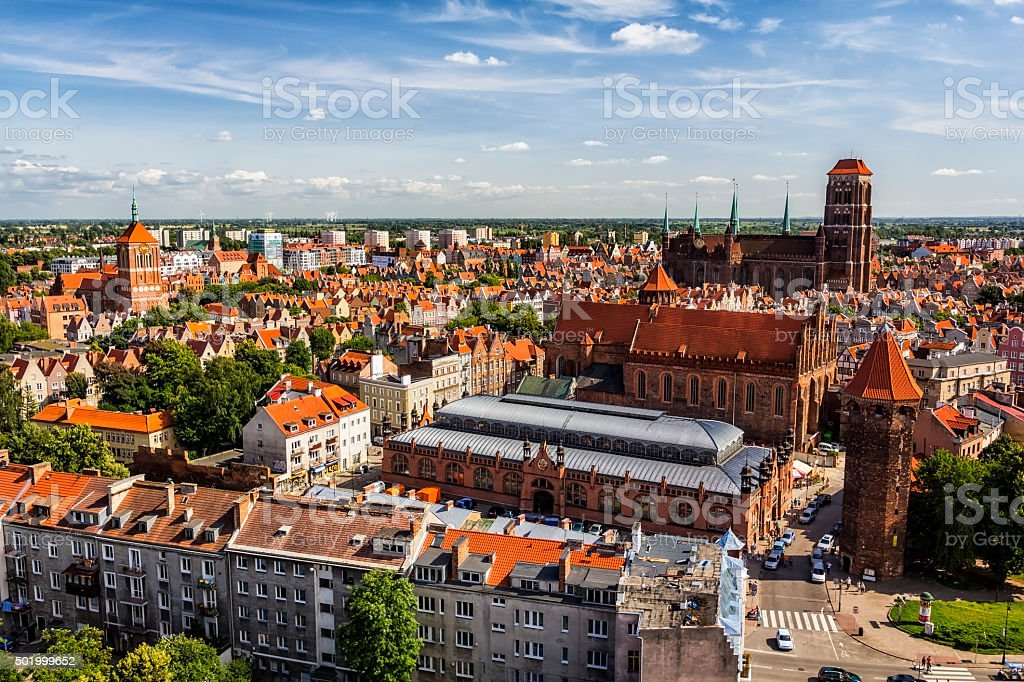 Gdansk Aerial View, Poland stock photo