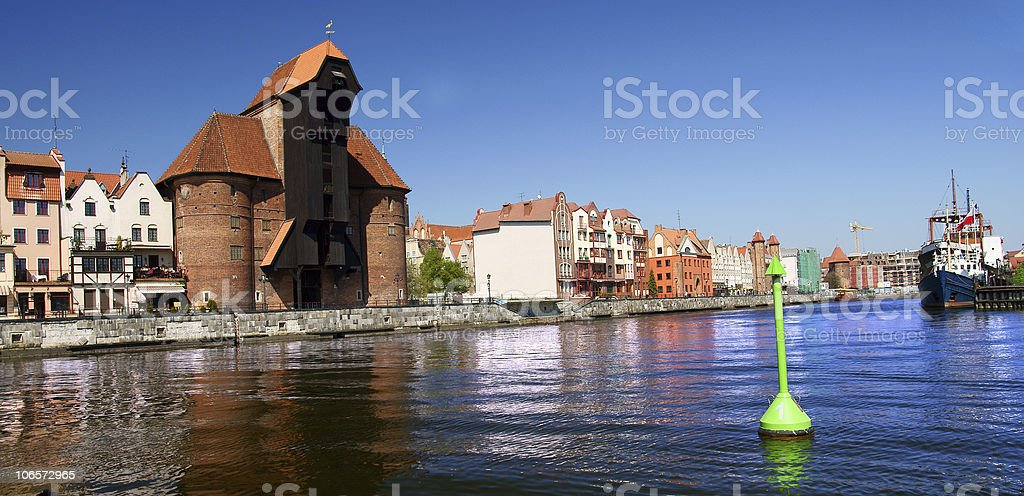 Gdansk, Danzig, Poland famous wooden crane from the 13th century royalty-free stock photo