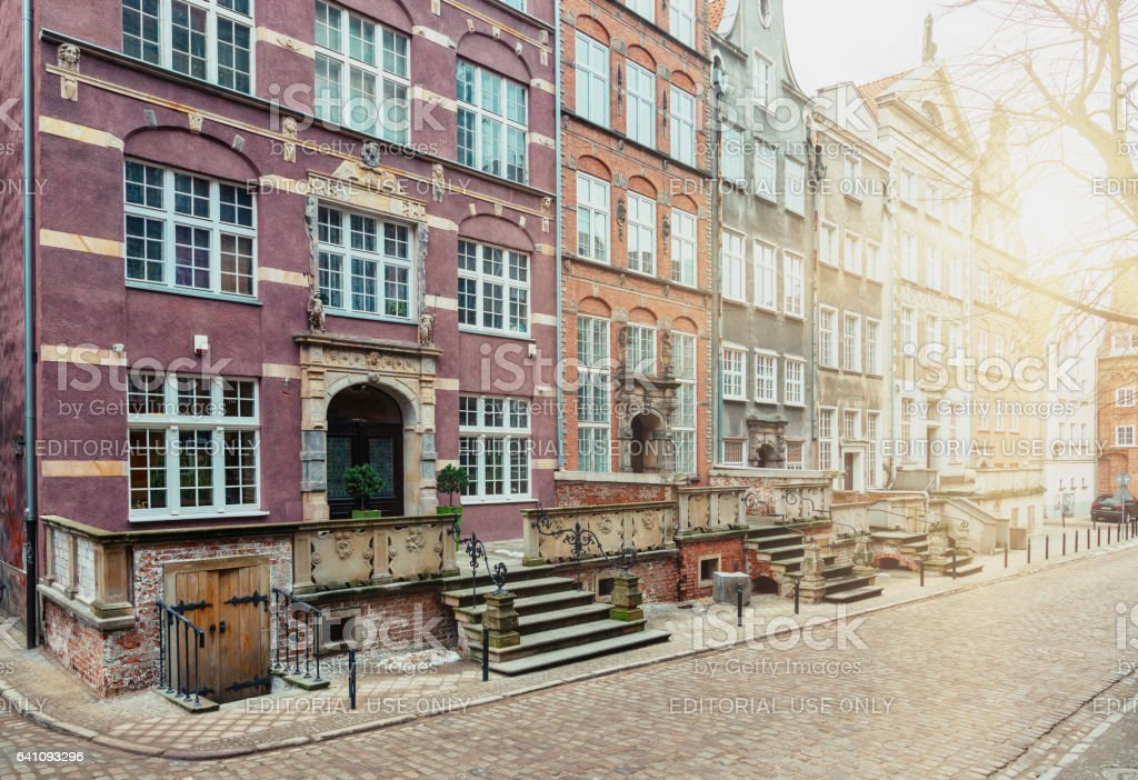 Gdansk old town street stock photo