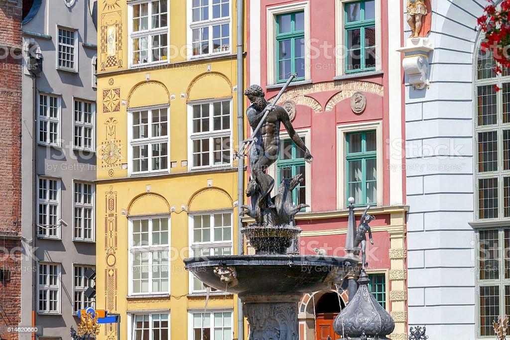 Gdansk. Sculpture of Neptune. stock photo