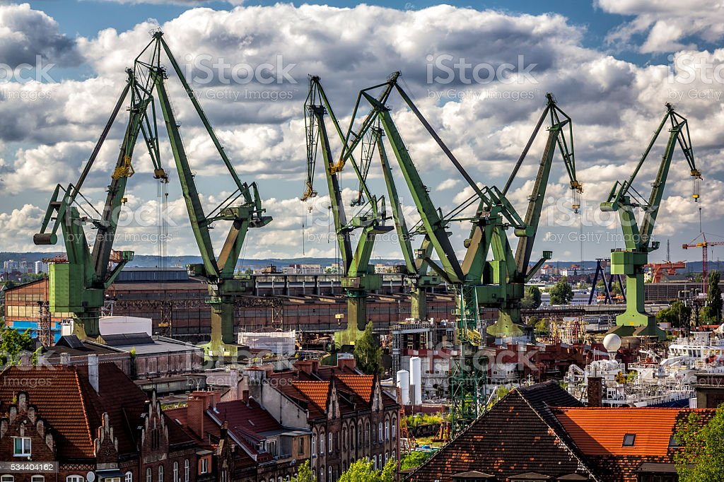 Gdansk Shipyard Aerial View, Poland stock photo