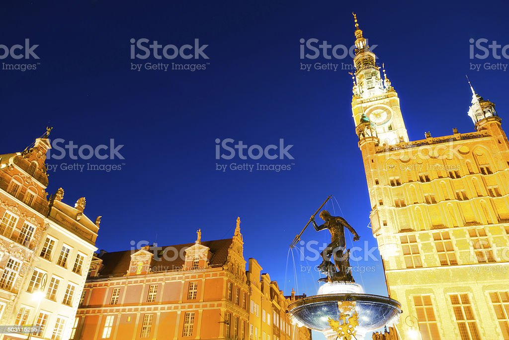 Gdansk Town Hall and Neptune Fountain stock photo