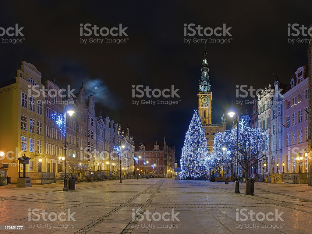 Gdansk Town Hall at night royalty-free stock photo