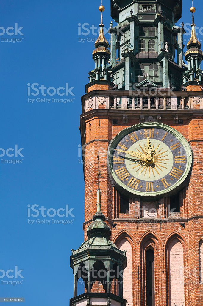 Gdansk town hall tower stock photo