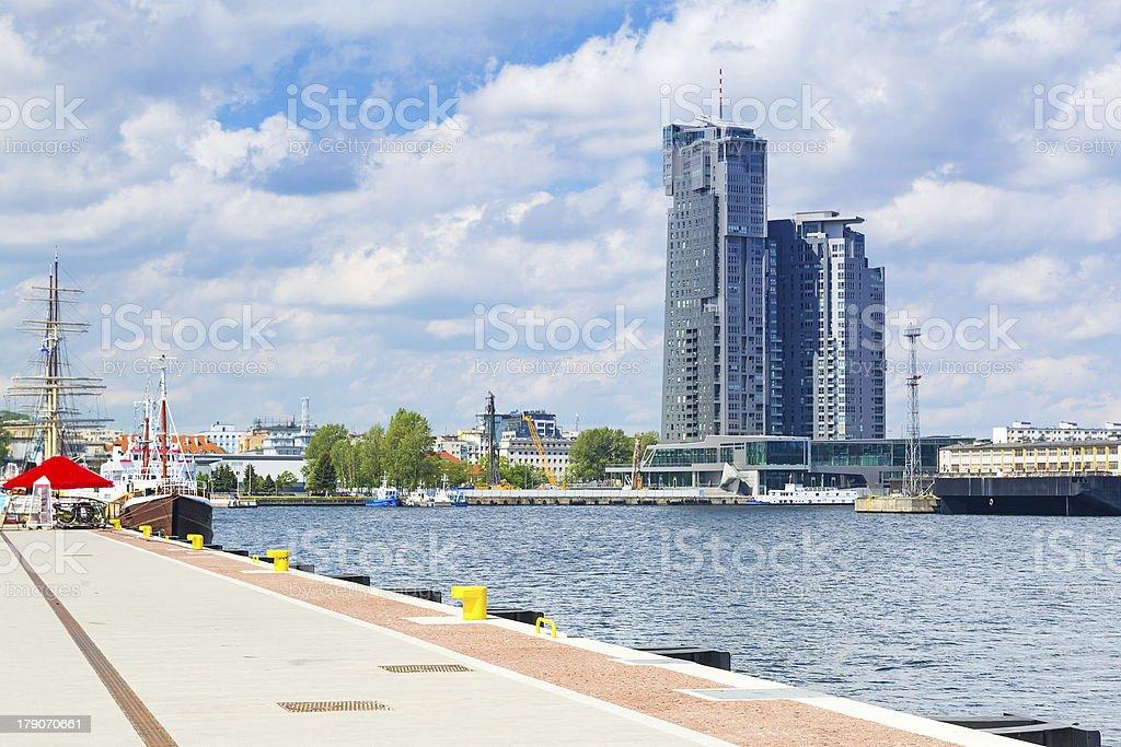 Gdynia city scenery at Baltic Sea stock photo