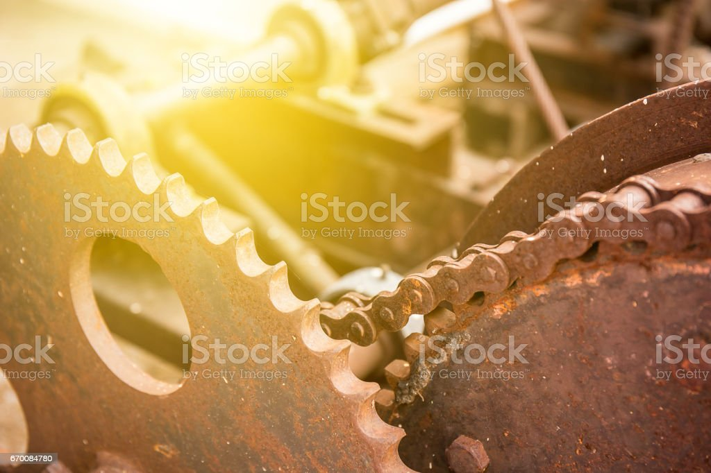 gear and chain in old machine stock photo