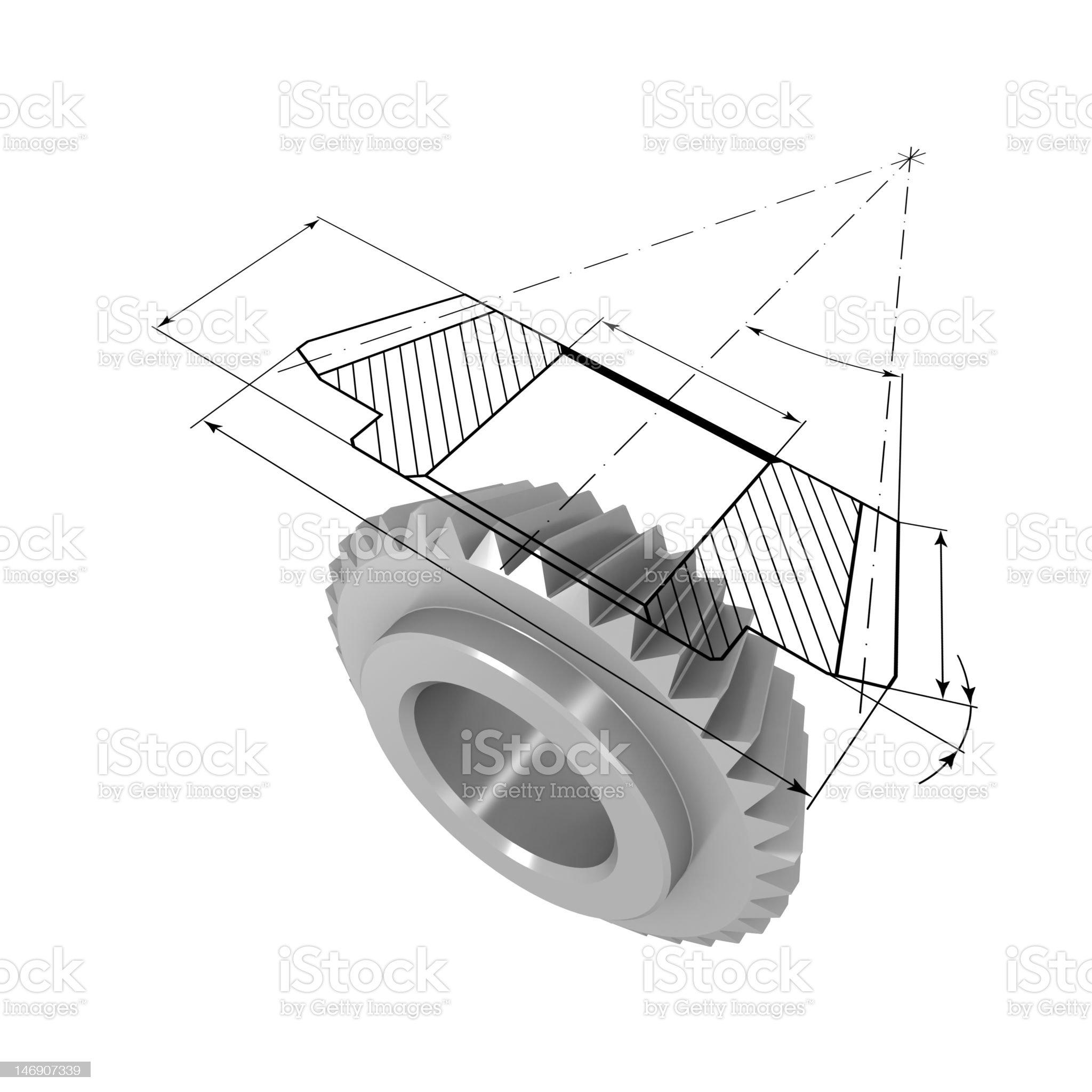 Gear and drawing royalty-free stock photo