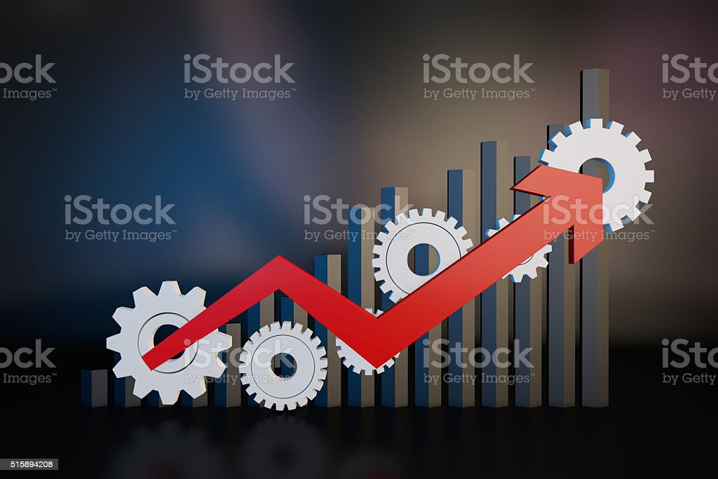 Gear and economic arrow stock photo