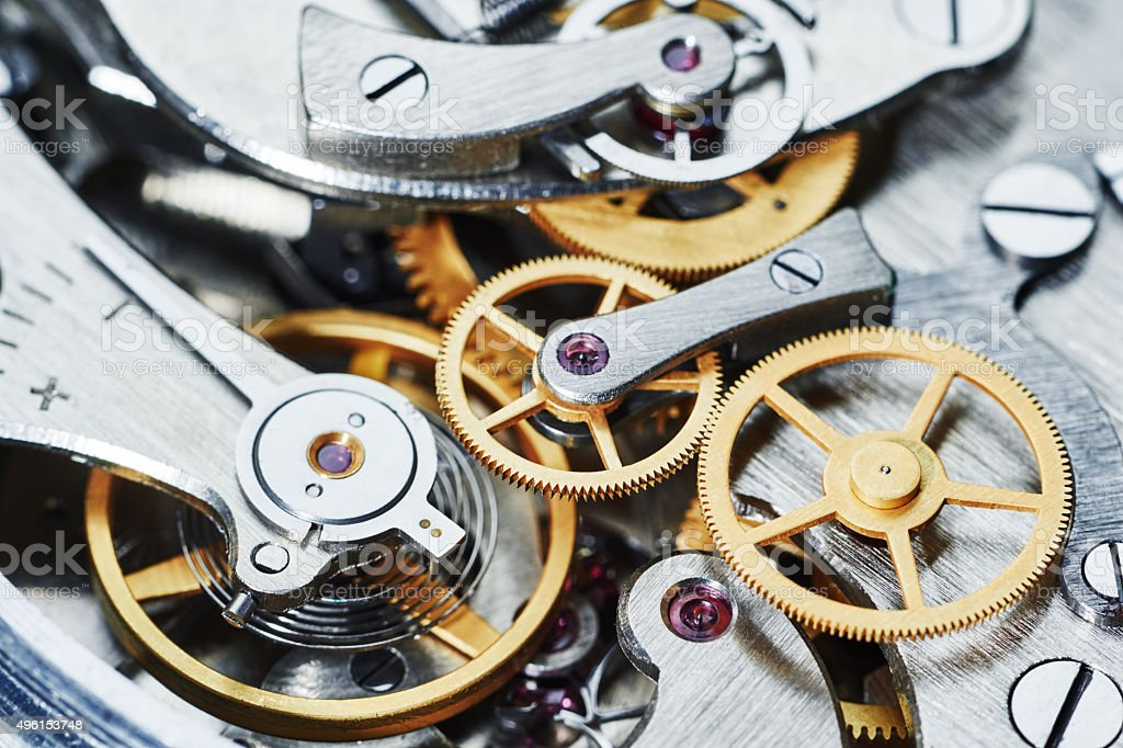 gear clock mechanism stock photo
