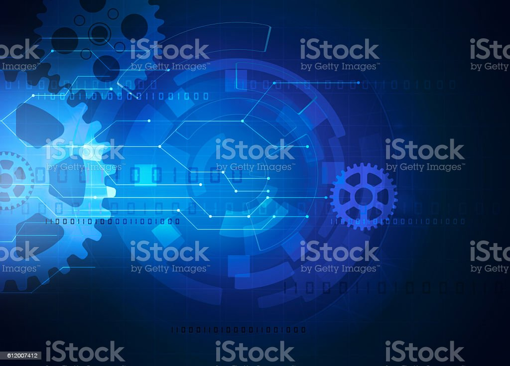 gear futuristic technology blue background stock photo