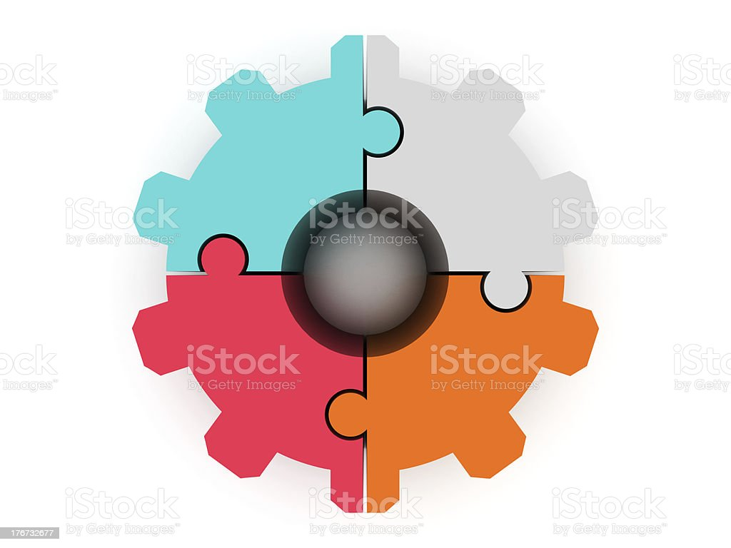 Gear made of puzzle royalty-free stock photo
