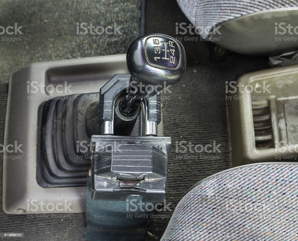 Gear manual black lock old version safe protect stock photo