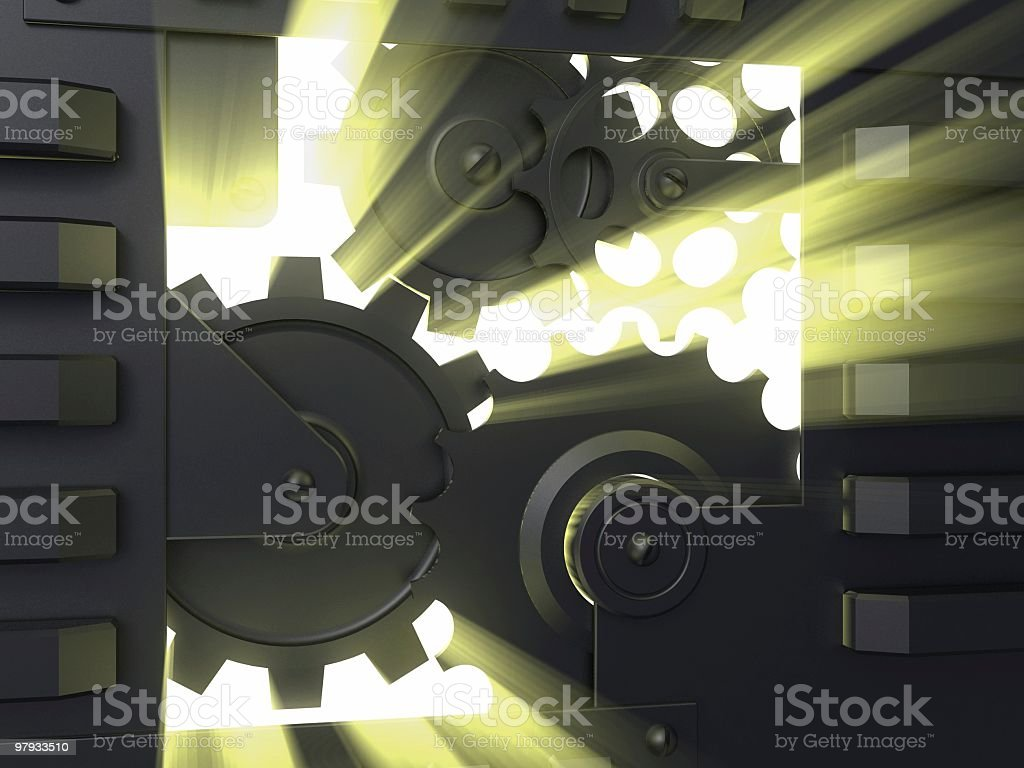 Gear mechanism with light royalty-free stock photo