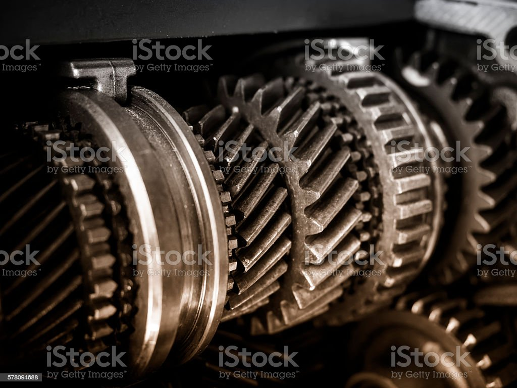 Gear Motor Machine parts Car Engineering details stock photo