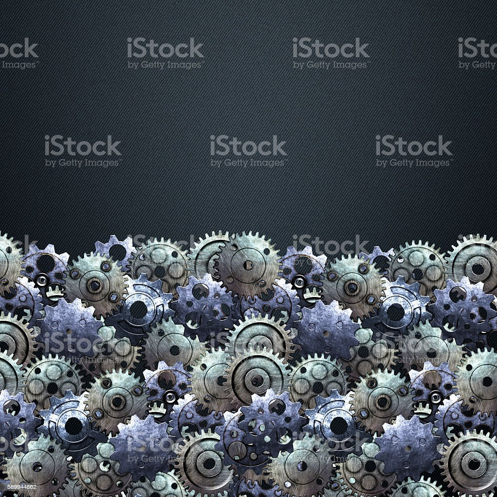 gear on the carbon metallic wall. home decoration. stock photo