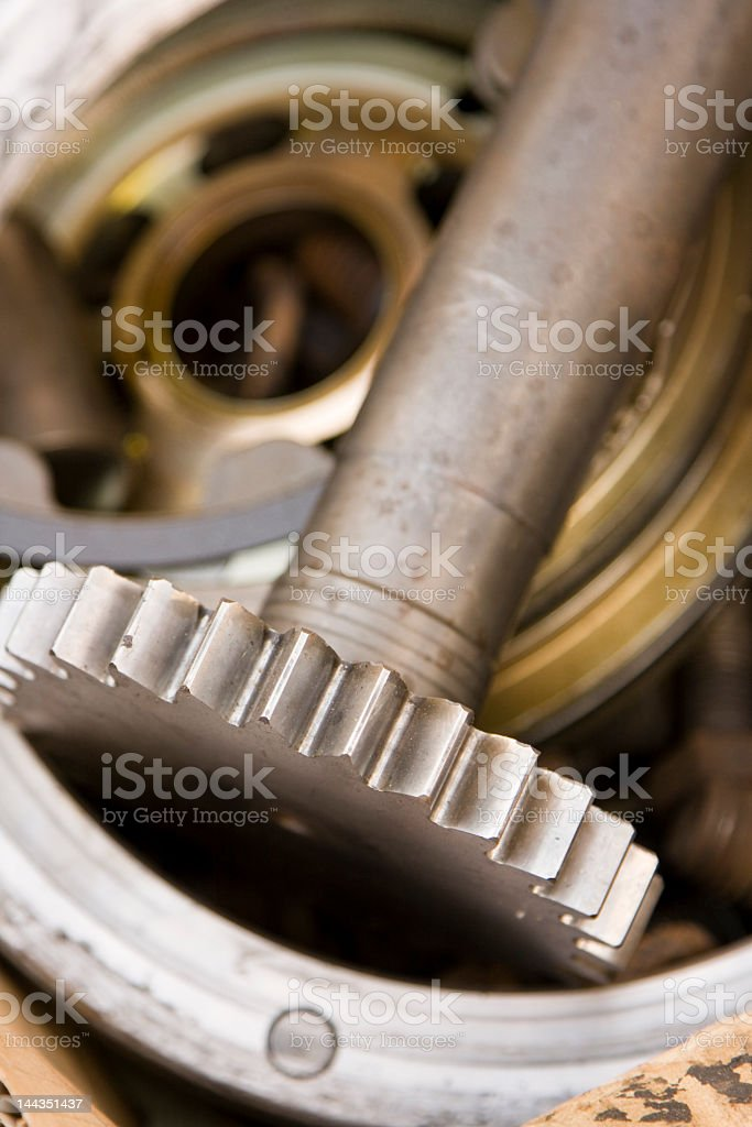Gear Shaft and Steel Plates royalty-free stock photo