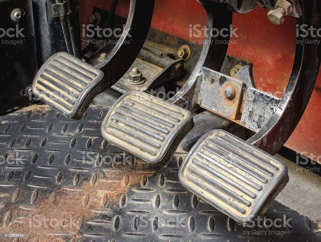 Gear shifter pedal of manual transmission car stock photo