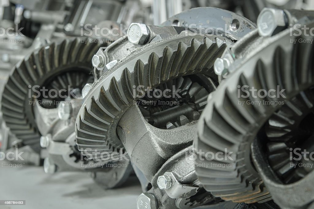 Gear transmission at a shallow depth of field stock photo