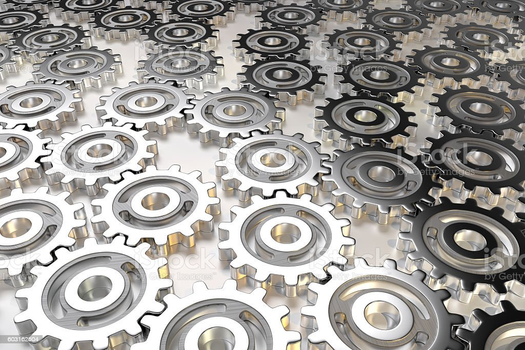 gear wheel filled space stock photo