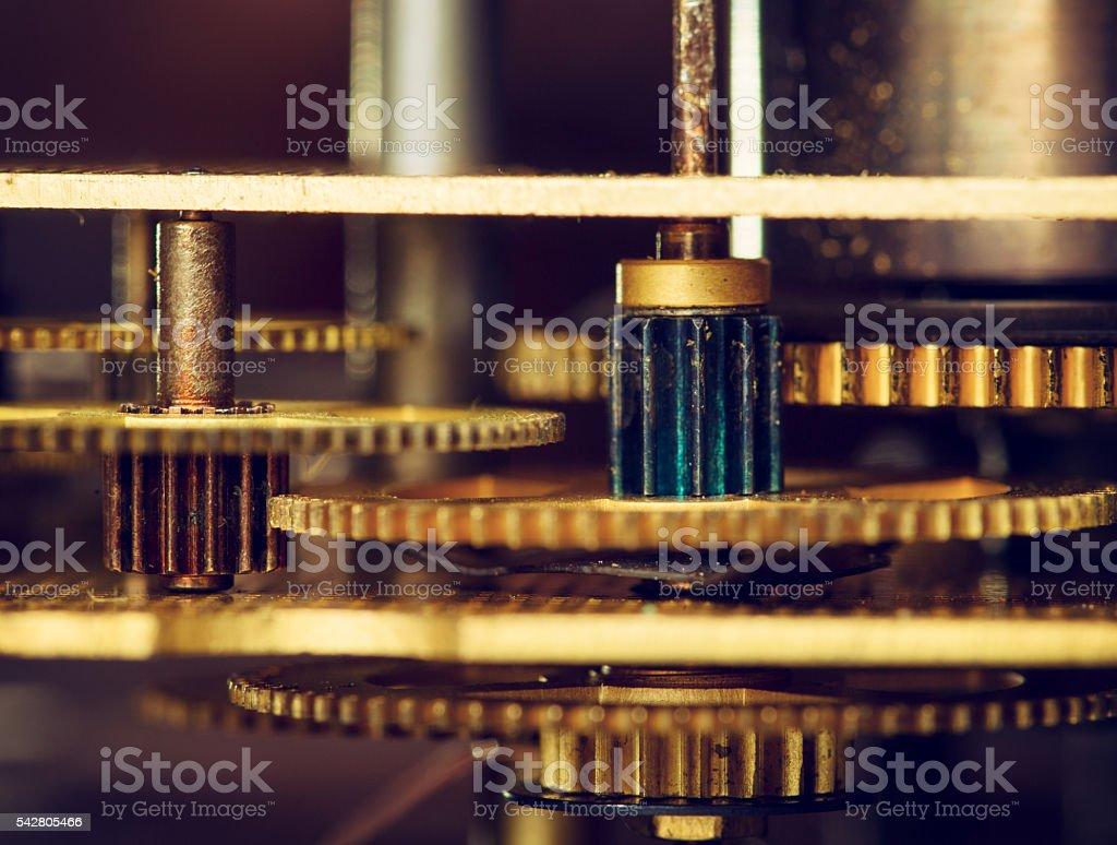 Gear wheels of a clockwork stock photo