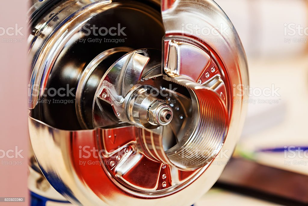 Gearbox on large electric motor stock photo
