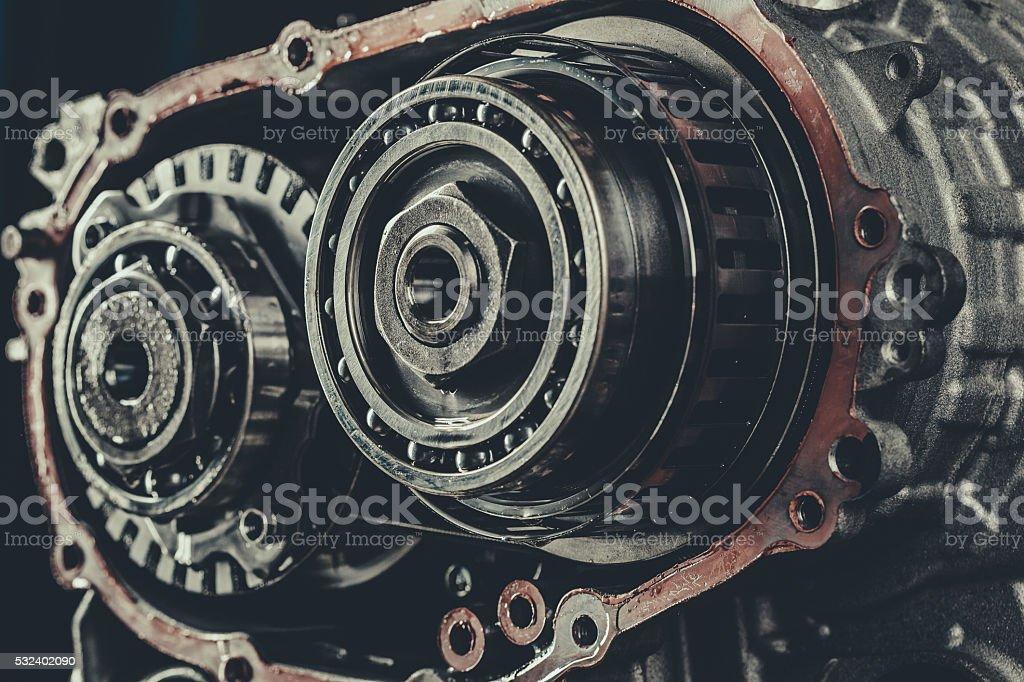 CVT gearbox repair closeup stock photo