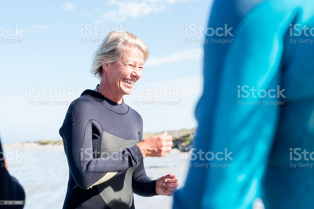 Gearing Up For Bodyboarding stock photo