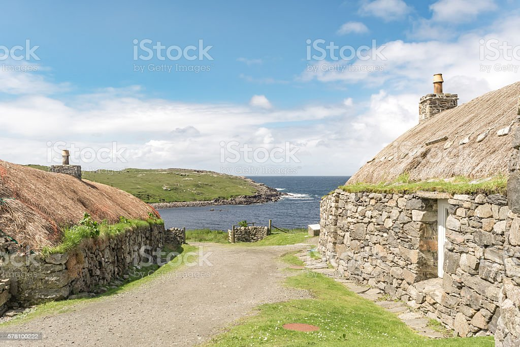 Gearrannan Blackhouse, The Isle of Lewis in Scotland stock photo