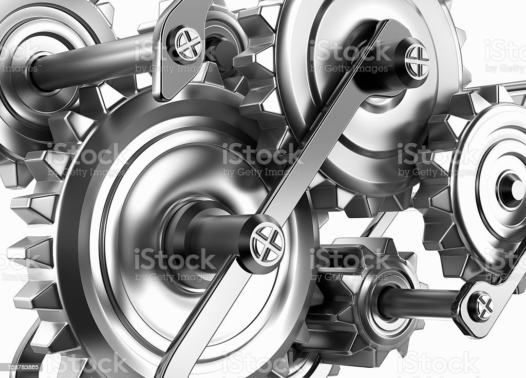 Gears and cogs working together. Reliable mechanism royalty-free stock photo