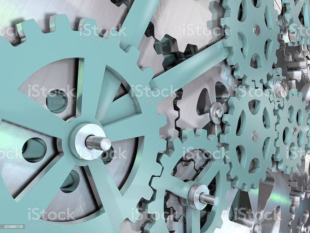 Gears and cogwheels mechanical engineering background. stock photo