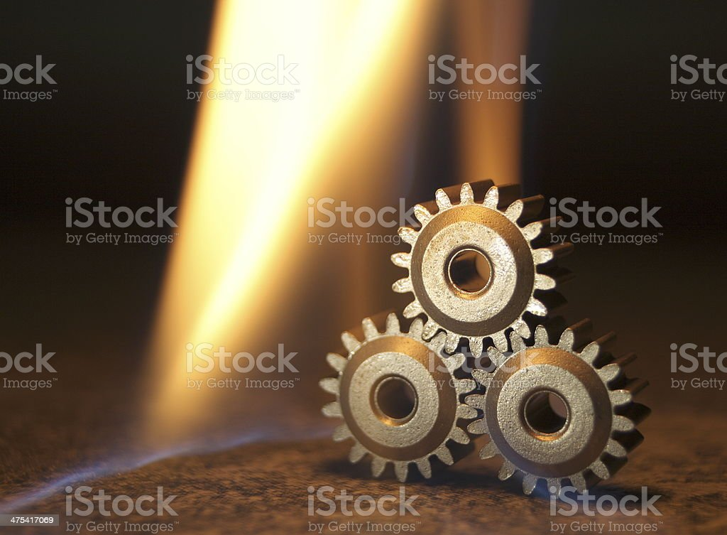 gears and fire stock photo