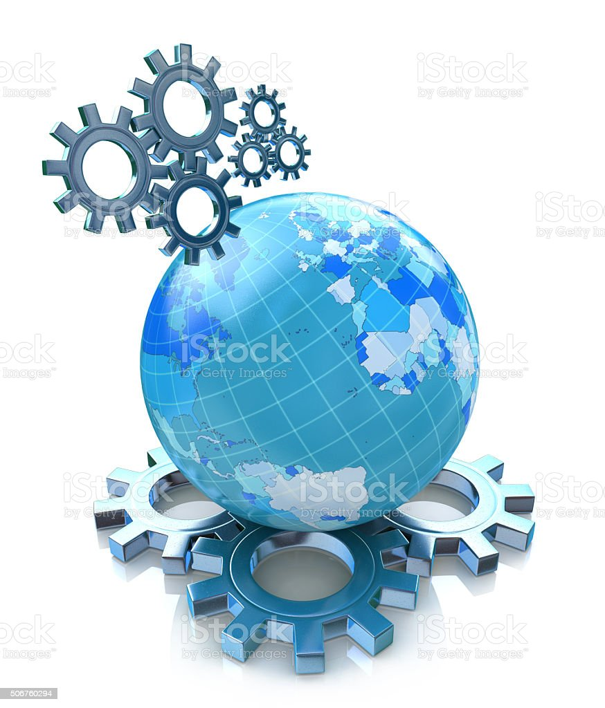 Gears and planet earth stock photo