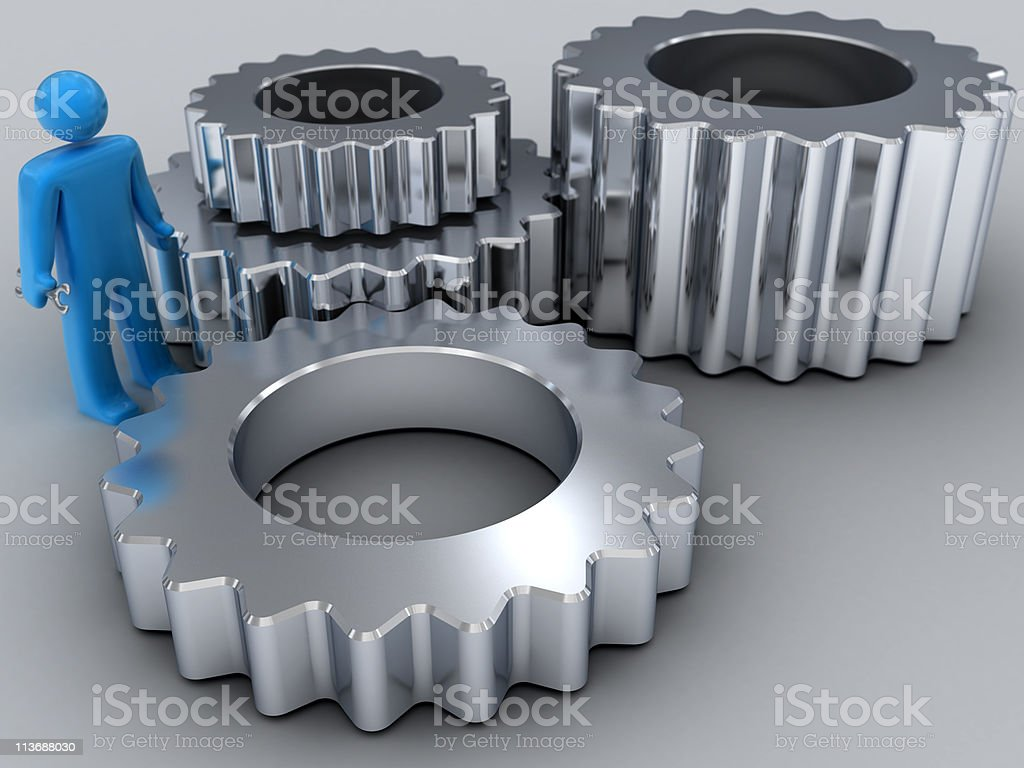 Gears and Repairman royalty-free stock photo