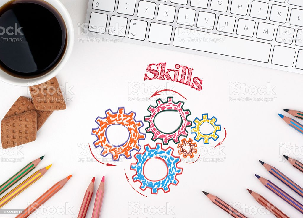 Gears and  Skills Mechanism on White office desk stock photo