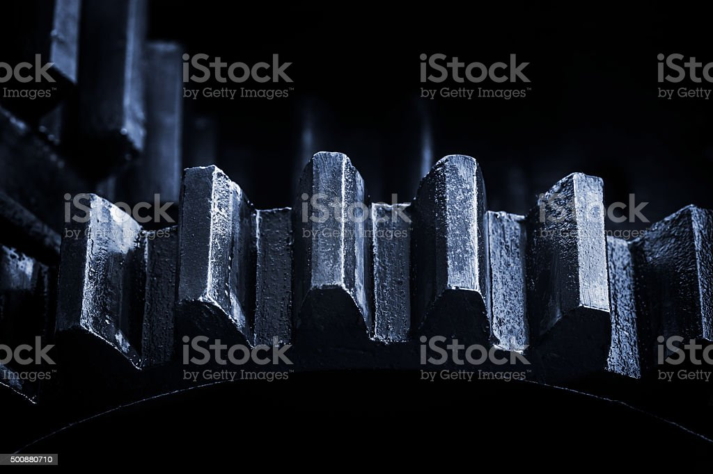Gears - close-up of old machine (shallow DOF) stock photo