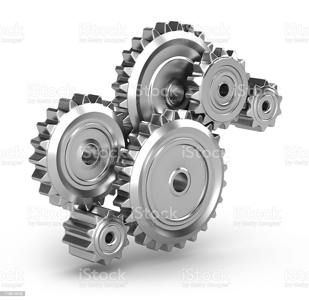 Gears connected to make a perpetuum mobile stock photo