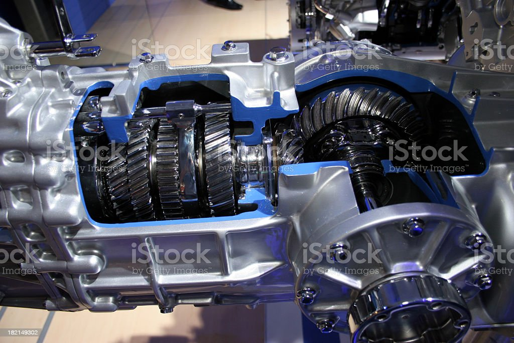 Gears cutaway in transmission stock photo