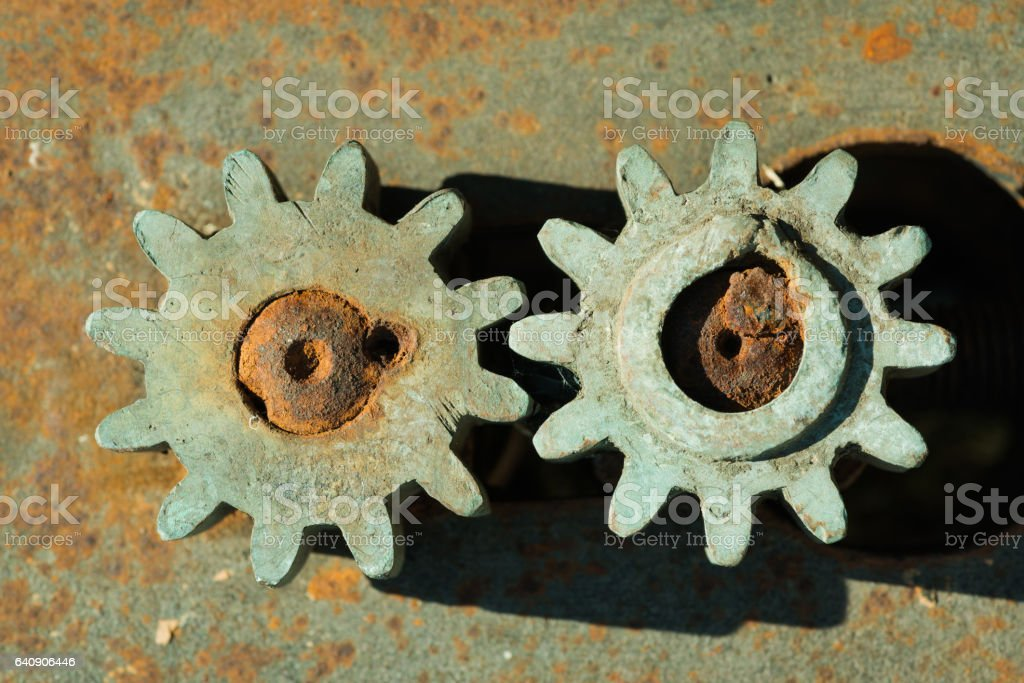 Gears detail of old rusty gears stock photo