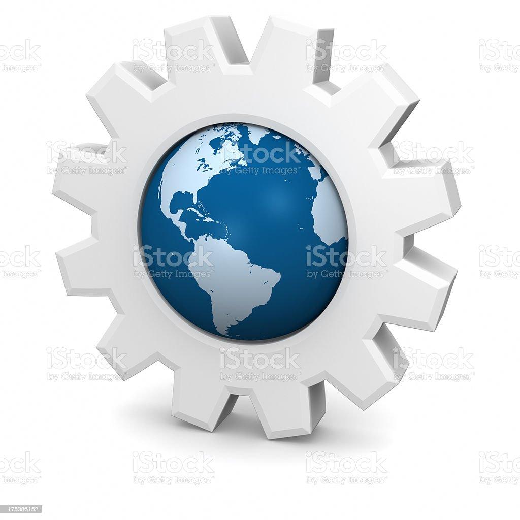 Gears Globe with Americas stock photo